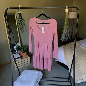 Longsleeve Pink Baby-Doll Dress